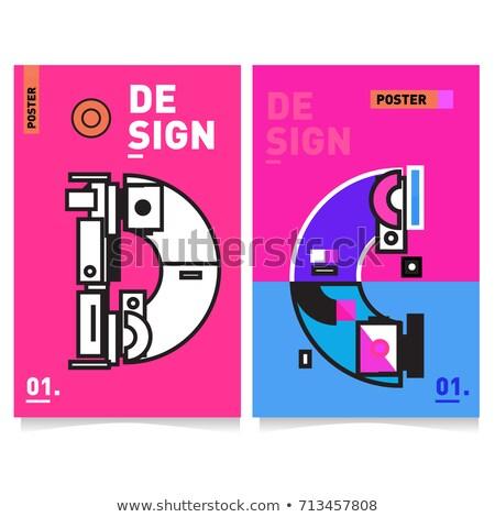 Trendy colorful brochure set with geometric shapes, memphis desi Stock photo © ExpressVectors
