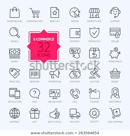 Compras por internet pago vector delgado línea icono Foto stock © pikepicture