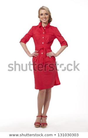 beautiful smiling girl in red shirt and skirt Stock photo © dolgachov