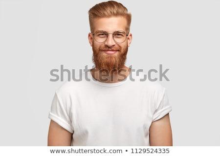 Portret tevreden kaukasisch mannelijke stoppels zacht Stockfoto © vkstudio