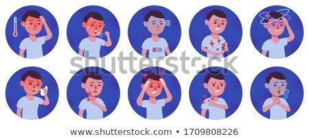 Stock photo: Coronavirus disease symptoms - flat design style illustration