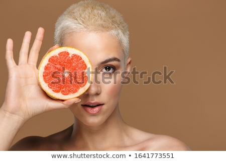 Beauty portrait of an attractive young topless blonde short haired woman Stock photo © deandrobot