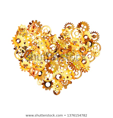 Complicated clockwork mechanism with glossy golden steampunk cogwheels in brain shape on white Stock photo © evgeny89