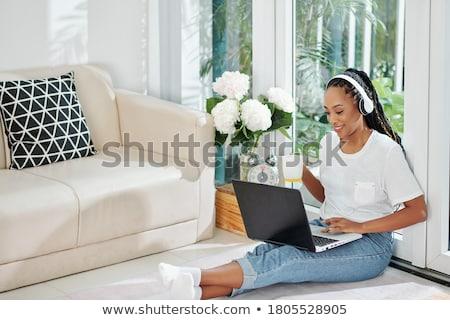 gyönyörű · afroamerikai · nő · italok · kávé · munka · fiatal - stock fotó © darrinhenry