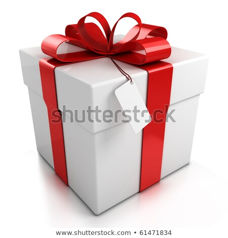 isolated red and white bow for holiday gift box over white stock photo © vichie81