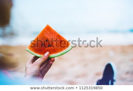 girl holding piece of watermelon  Stock photo © ddvs71