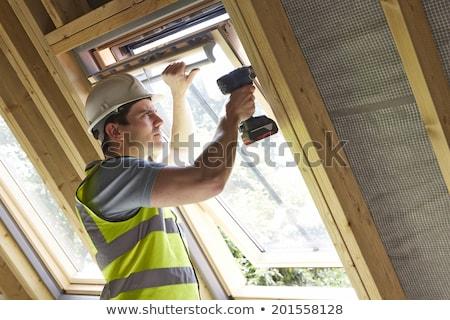Foto d'archivio: Falegname · lavoro · casa · costruzione · costruzione · frame