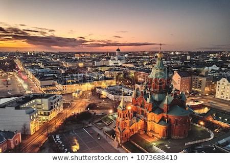 Helsinki kikötő Finnország vésés ismeretlen művész Stock fotó © Stocksnapper