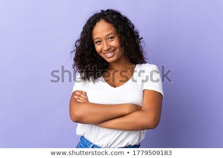 Foto stock: Menina · isolado · jovem · modelo · feliz · olhos