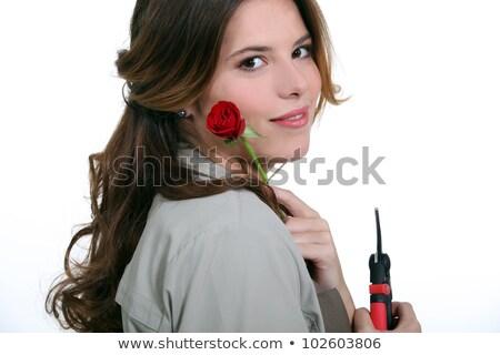 Donna rosa cacciavite mano sfondo Foto d'archivio © photography33