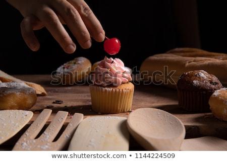 torta · cseresznye · kanál · krém · tányér · csésze - stock fotó © ozaiachin