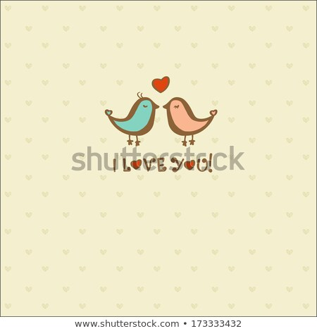 Happy Anniversary Two Love Birds Stock photo © davidgn