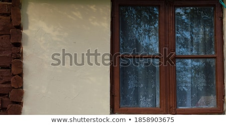 Aged house painted window with ages curtains Stock photo © vetdoctor