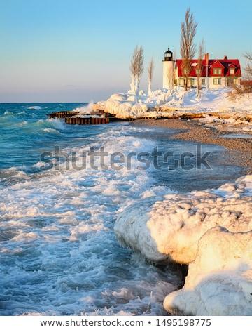 ポイント 灯台 湖 ミシガン州 雲 建物 ストックフォト © Kenneth_Keifer