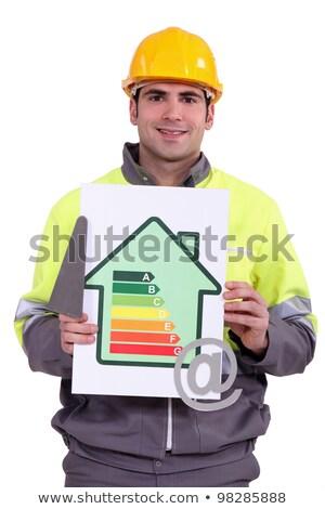 Travailleur de la construction efficacité énergétique signe symbole maison Photo stock © photography33