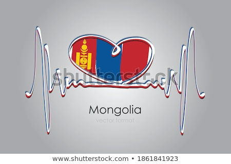 image of heart with flag mongolia stock photo © perysty