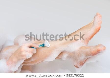 lábak · elektromos · borotva · nő · test · bőr - stock fotó © carlodapino