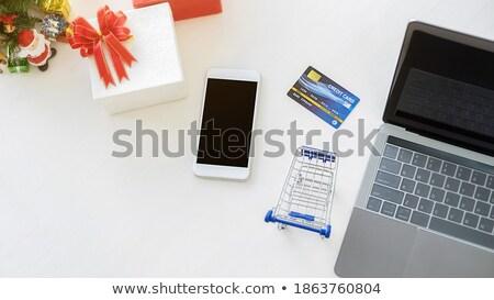 genç · kadın · bakıyor · modern · tablet · sunmak · kutuları - stok fotoğraf © ra2studio