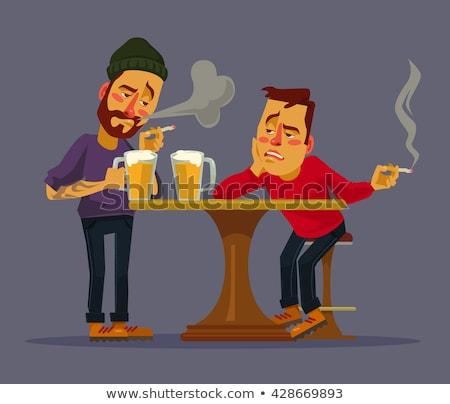 Stock fotó: Részeg · férfi · dohányzás · cigaretta · szomorú · városi