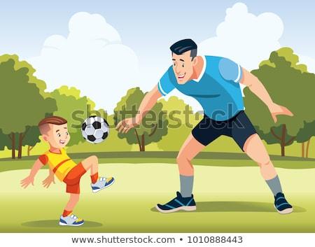 Foto stock: Padres · ninos · jugando · fútbol · jugando · ninos