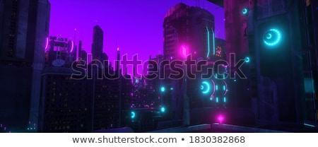 Gebouw silhouet paars hemel kantoor zonsondergang Stockfoto © premiere