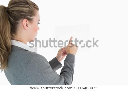 女性実業家 · ポインティング · ガラス · スライド · スーツ · 女性 - ストックフォト © wavebreak_media