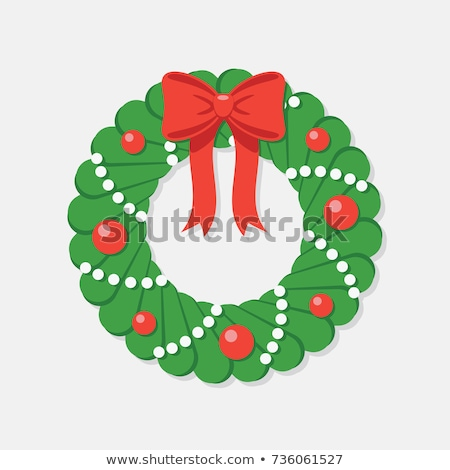 red bow with pine circle decoration stock photo © lightsource