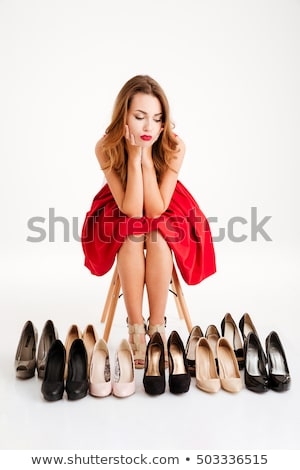 Sapatos viciado belo mulher atraente isolado Foto stock © iko