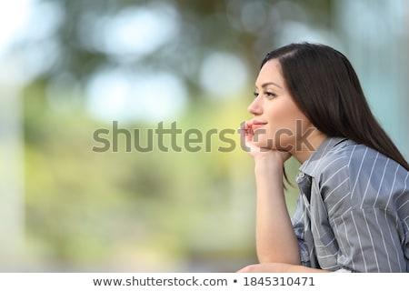 Stok fotoğraf: Genç · kadın · oturma · bank · kız · mutlu · elbise