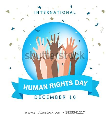 Mensenrechten Blauw ontwerp lang schaduwen vrijheid Stockfoto © tashatuvango