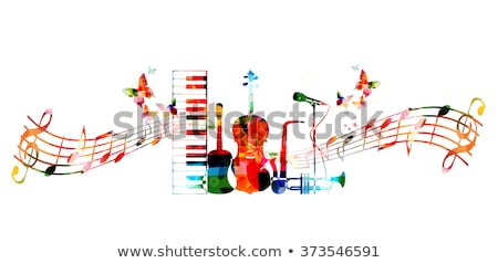 music background with trumpet and butterflies stock photo © balasoiu