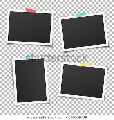 Fotolijstje zwarte geïsoleerd witte textuur achtergrond Stockfoto © scenery1