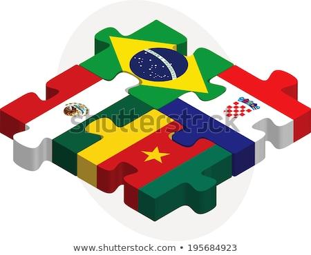 Stock fotó: Brazília · Horvátország · zászlók · puzzle · izolált · fehér
