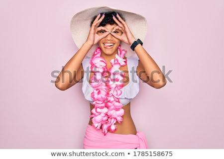 女性 · 日没 · 実例 · ビーチ · 花 · 幸せ - ストックフォト © adrenalina
