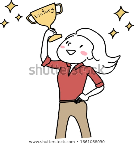 Businesswoman holding a golden trophy Stock photo © bmonteny