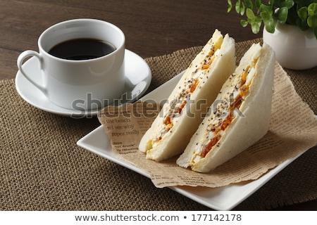Beker hot koffie sandwiches voorraad foto Stockfoto © punsayaporn
