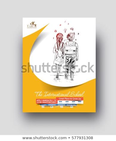 Terug naar school ontwerpsjabloon achtergrond kunst onderwijs teken Stockfoto © sabelskaya
