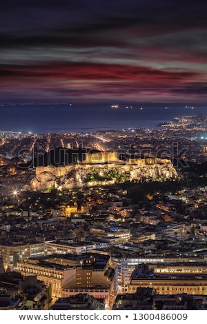 Acrópole noite pôr do sol Atenas Grécia edifício Foto stock © AndreyKr