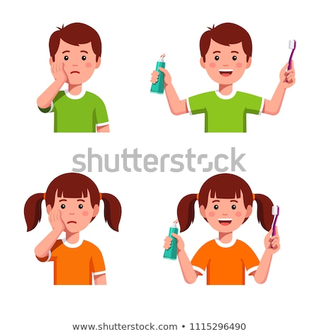 sad boy with toothbrush Stock photo © Dave_pot