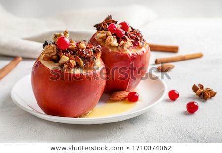 Gebakken appel vruchten najaar dessert maaltijd Stockfoto © M-studio