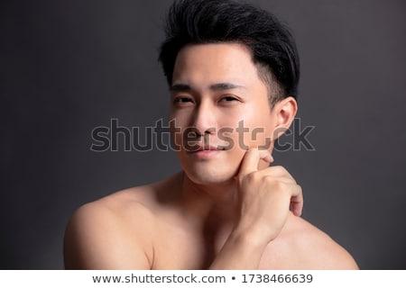 азиатских человека черный портрет голову китайский Сток-фото © deandrobot