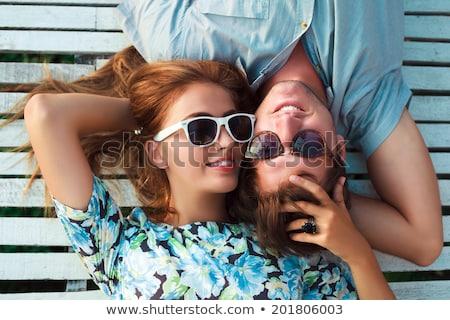 gelukkig · mooie · sensueel · vrouw · vloer · naar - stockfoto © deandrobot