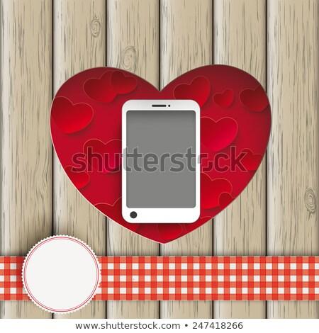 coração · grande · marrom · branco · casamento - foto stock © limbi007