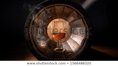 Conhaque vidro madeira superfície água Foto stock © artjazz