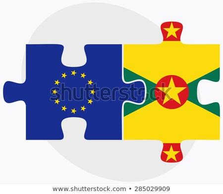 Európai szövetség Grenada zászlók puzzle izolált Stock fotó © Istanbul2009
