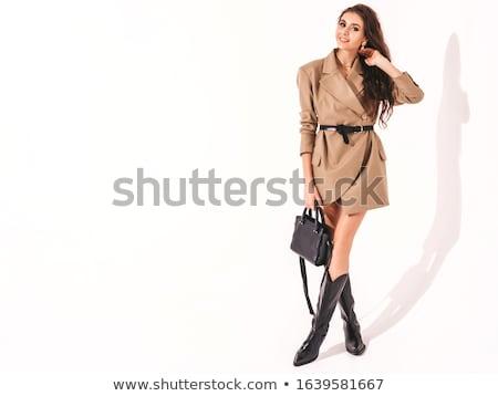 Stockfoto: Sexy · brunette · vrouw · poseren · mooie · glimlachend