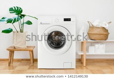 Beyaz çamaşır makinesi yalıtılmış makine temizlemek çamaşırhane Stok fotoğraf © ozaiachin