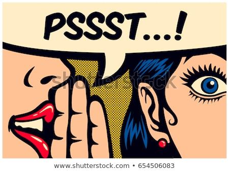 Pop art illusztráció nő szövegbuborék lány beszéd Stock fotó © balasoiu