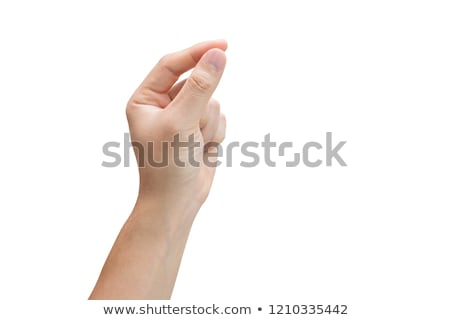 Womans left hand holding blank paper Stock photo © cherezoff