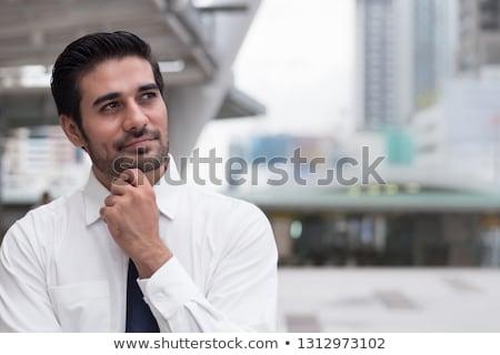 Indiai üzletember gondolkodik portré érett felfelé néz Stock fotó © szefei